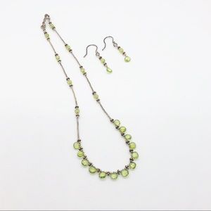 Jewelry - BRAND NEW Goldtone & Green Necklace & Earring Set